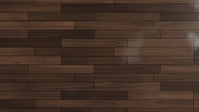 Laminate glossy parquet floor with scratches