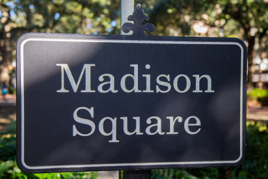 road sign in the park of Madison square