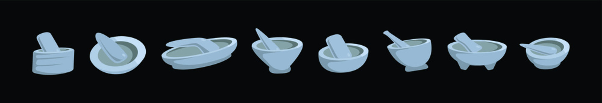 set of mexican molcajete icon design template with various models. vector illustration