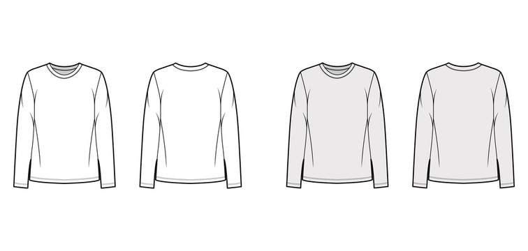 Cotton-jersey shirt technical fashion illustration with relaxed fit, crew neckline, long sleeves. Flat outwear basic apparel template front, back, white, grey color. Women, men, unisex top CAD mockup