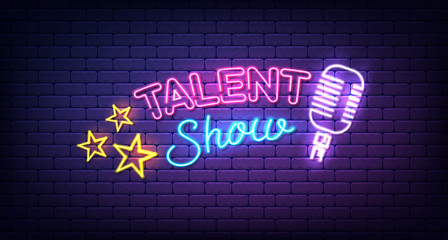 Talent show banner, poster, neon sign with stars and microphone, bright signboard, advertising or invitation, event, vector illustration