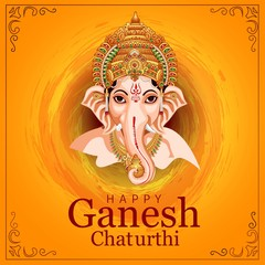 Lord Ganpati on Ganesh Chaturthi background. vector illustration