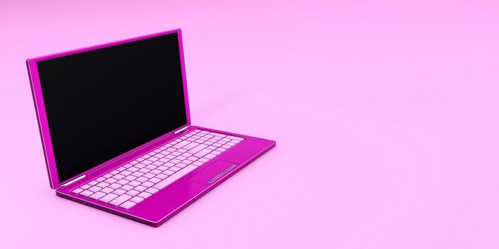 Laptop close-up pink color online 3d concept 3d rendering
