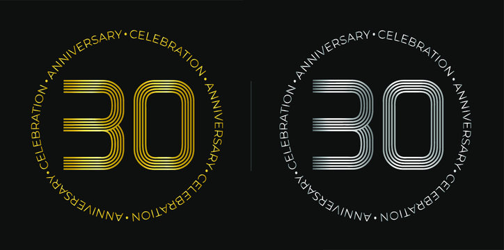 30th birthday. Thirty years anniversary celebration banner in golden and silver colors. Circular logo with original numbers design in elegant lines.
