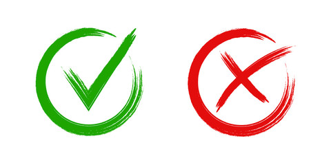 Set of check mark and cross . Green tick and red cross icon . Vector illustration on white background . Checkmark , yes or on concept .