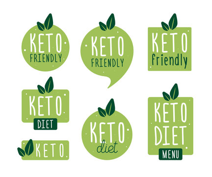 Set badge keto diet. Vector flat illustration. Ketogenic diet logo sign. Keto diet menu.