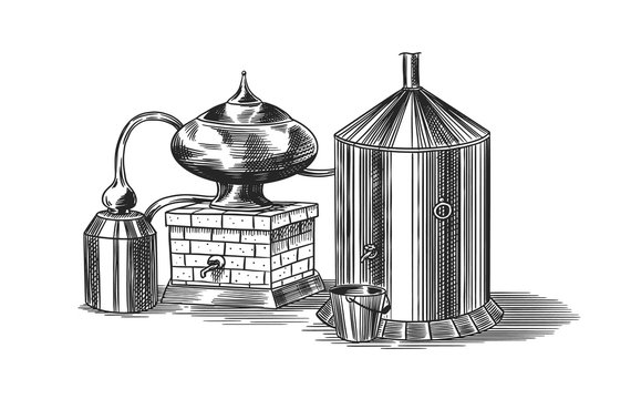 Distilled alcohol. Device for preparing tequila, cognac and spirits. Engraved hand drawn vintage sketch. Woodcut style. Vector illustration for menu or poster.
