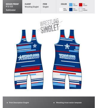 Singlet vector template. Wrestling tricot design template