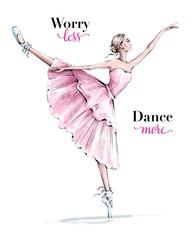 Estores personalizados con tu foto Hand drawn beautiful dancing woman. Pretty ballerina. Girl in blue point shoes. Ballerina in pink dress. Beautiful female ballet dancer. Fashion illustration.