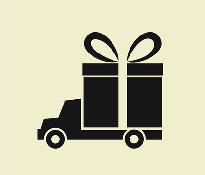delivery service: big gift box transported by truck