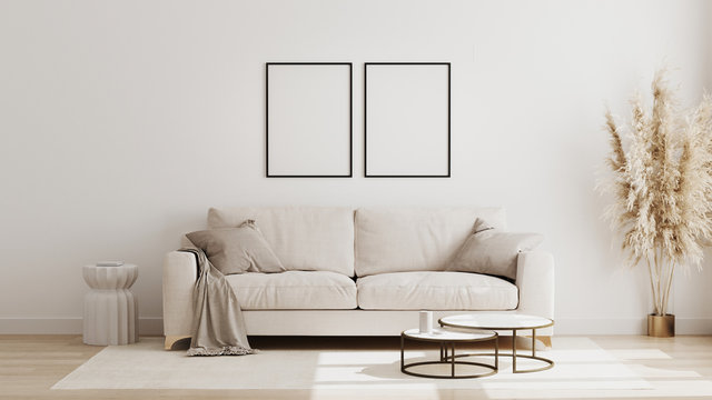 Blank poster frame mock up in  scandinavian style living room interior, modern living room interior background, beige sofa and pampas grass, 3d rendering