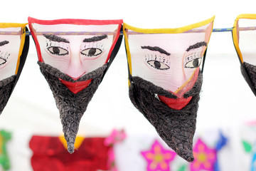 masks and figures of traditional handmade dancers from morelos mexico