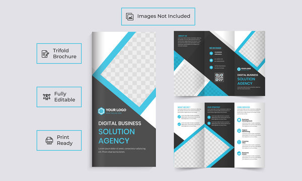 Business trifold brochure design Tri-fold brochure Corporate company profile tri fold brochure template