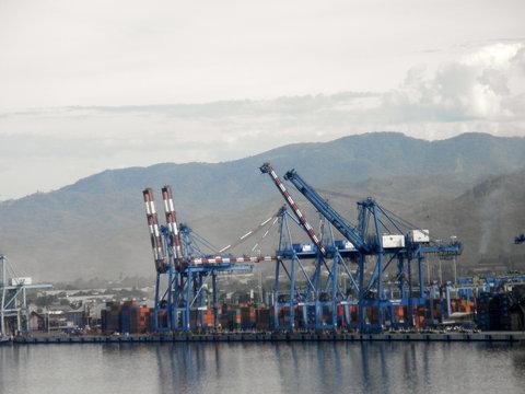 Shipping Cargo Cranes along the shore of Manzanillo, Mexico