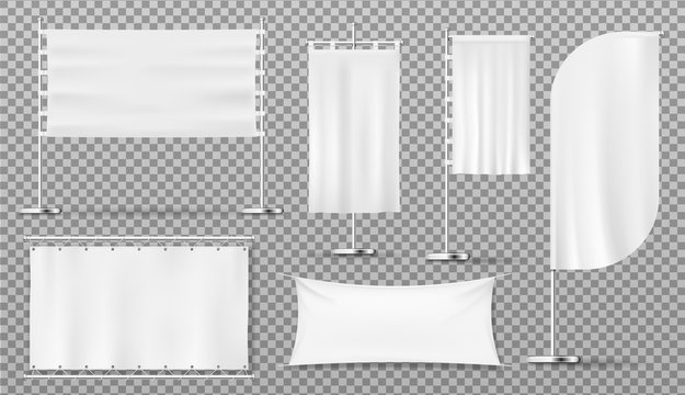 Advertising banners and flags, blank isolated white templates, vector realistic mockups. Outdoor advertising pole signs, feather and teardrop flag banners, billboards and commercial fabric flags