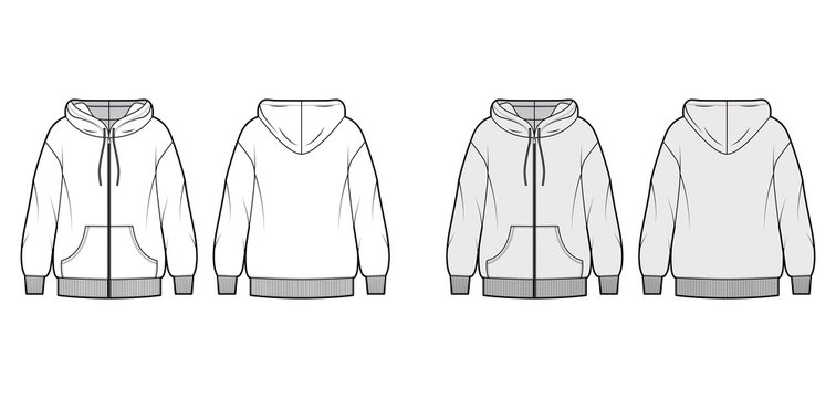 Zip-up oversized cotton-fleece hoodie technical fashion illustration with pocket, relaxed fit, long sleeves. Flat jumper template front, back, white, grey color. Women, men, unisex sweatshirt top CAD