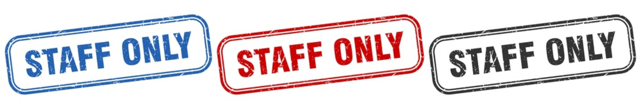 staff only square isolated sign set. staff only stamp
