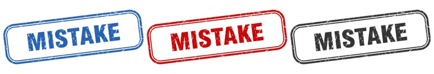 mistake square isolated sign set. mistake stamp