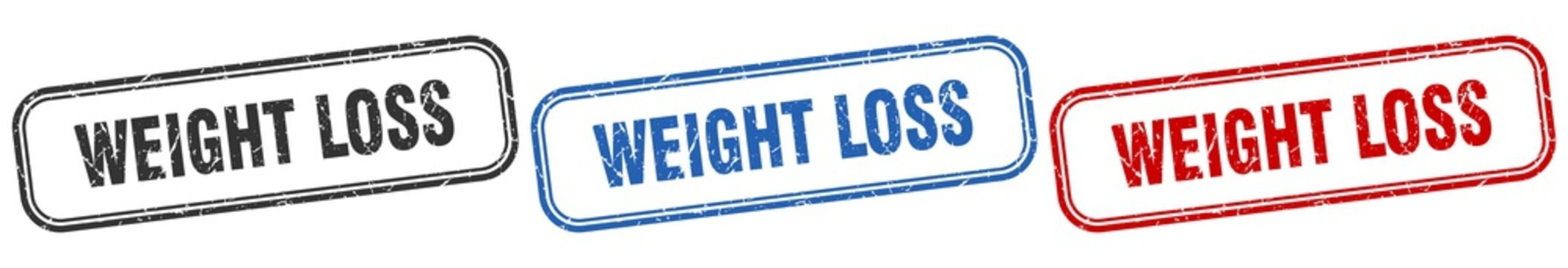 weight loss square isolated sign set. weight loss stamp