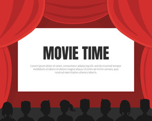 Movie Time Background with Space for Text, Cinema Red Curtains and Silhouettes of Viewers Vector Illustration