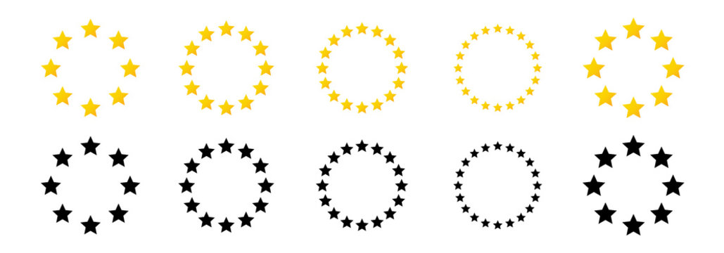 Golden star vector icons. Yellow stars in the form of a circle. Vector illustration.