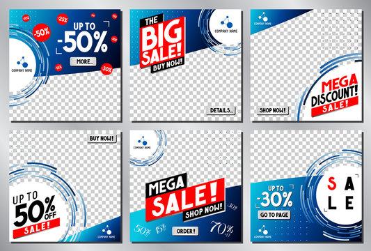 Social media advertisement - sale template - vector illustration
