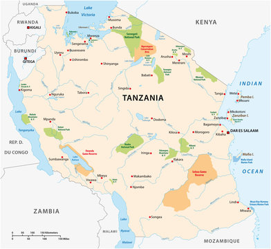 National park vector map of the East African state of Tanzania