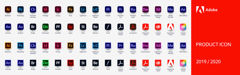 MOSCOW, RUSSIA - AUGUST 18, 2020: Set icons Adobe Products 2019 / 2020: Illustrator, Photoshop, InDesign, Premiere Pro, After Effects, Acrobat DC, Lightroom, Dreamweaver...Vector illustration EPS10