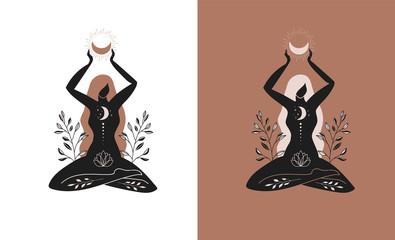 Obraz Mystic women, exotic woman, feminine concept illustration, beautiful esoteric women silhouettes . Flat style vector design - fototapety do salonu