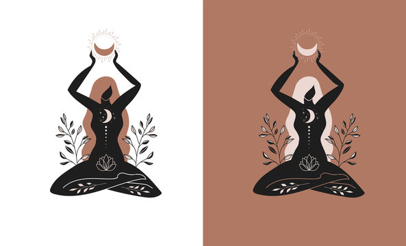 Mystic women, exotic woman, feminine concept illustration, beautiful esoteric women silhouettes . Flat style vector design
