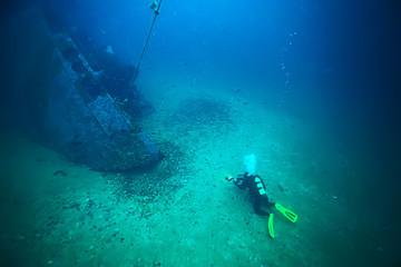 Garden Poster Shipwreck shipwreck diving landscape under water, old ship at the bottom, treasure hunt