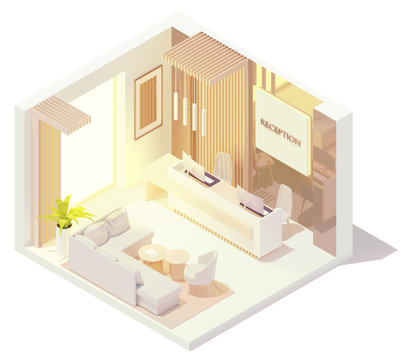 Vector isometric office or hotel lobby front desk or reception desk interior. Reception counter with receptionist workplace, sofa and armchairs for visitors