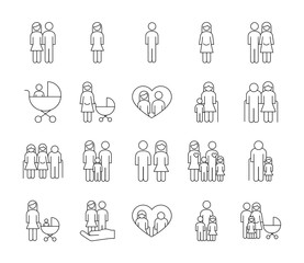 bundle of twenty family parents set icons