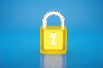 Transparent Glass and glowing Yellow Padlock with keyhole isolate on blue background with reflex ,Data Security Encryption ,cyber or information privacy idea. 3D Render.