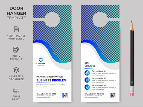 Business Corporate Door Hanger, Vector illustration, modern Door hanger, do not disturb and make up room sign Premium Vector, Door hanger design template