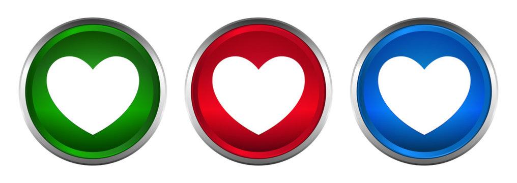 Heart icon supreme round button set design illustration