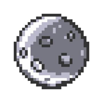 8 bit moon pixels. Pixel art vector illustration.