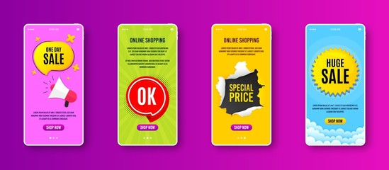 OK badge. Phone screen banner. Approved chat bubble icon. Sale banner on smartphone screen. Mobile phone web template. OK badge promotion. Interface with torn paper hole. Shop now button. Vector