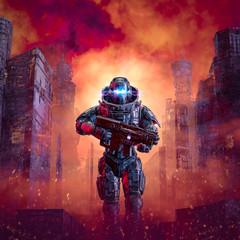 Cyberpunk soldier city warfare / 3D illustration of science fiction military robot warrior patrolling war torn dystopian streets