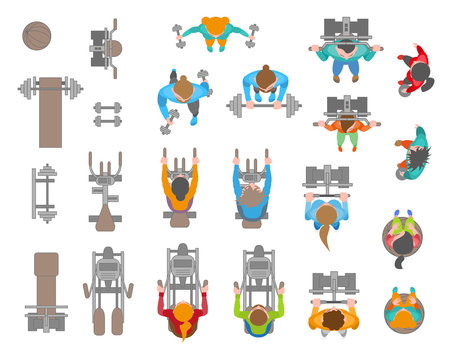 People and fitness equipment. Top view. Bodybuilders. Vector set. Training apparatus. View from above.
