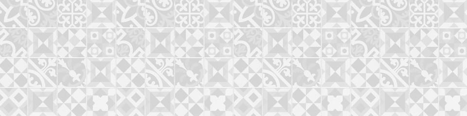 White gray grey vintage retro geometric square mosaic motif cement tiles texture background banner panorama