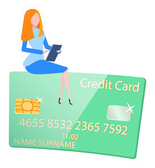 Wall Mural - Credit card and woman worker, gambling money. Plastic modern equipment for paying, wireless cash and character, business success, banking icon vector