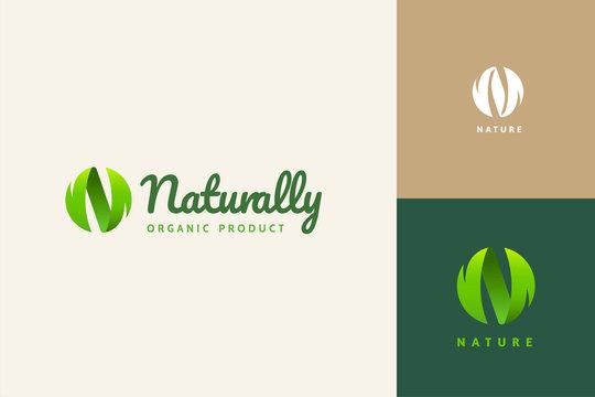 N sphere leaf logo design set