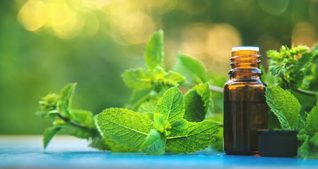 Peppermint essential oil in a small bottle. Selective focus.