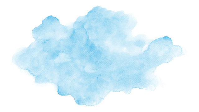 Abstract light blue clouds watercolor stain on white background