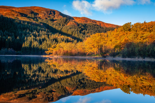 Late Autumn Reflections at Loch Chon, Loch Lomond and The Trossachs National Park.