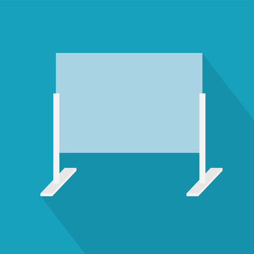 sneeze guard for desk, plexiglass shield barrier, social distancing - vector illustration