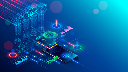 Mobile bank conceptual illustration. Internet online banking on phone. access to the money on bank card through app on smartphone with nfc technology. Digital Financial services and pay in web shop. - fototapety na wymiar