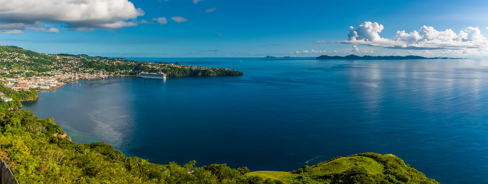 A panorama view of Kingstown bay and the island of Bequia from Fort Charlotte, Kingstown. Saint Vincent