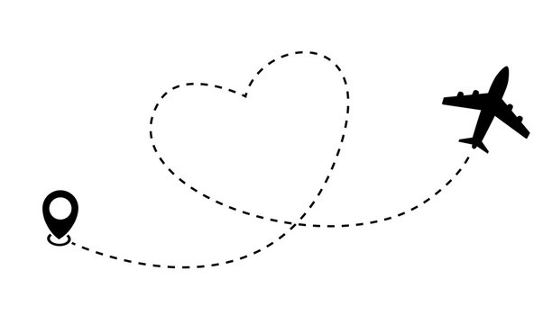 Heart airplane route. Plane and track icon on a white background. Vector illustration